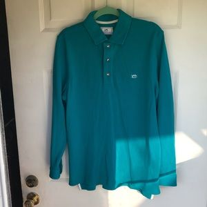 Southern tide green long sleeves polo shirt Small.
